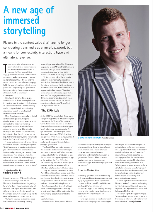 Story on Transmedia with Marc Schwinges in September 2014 Issue of Screen Africa.